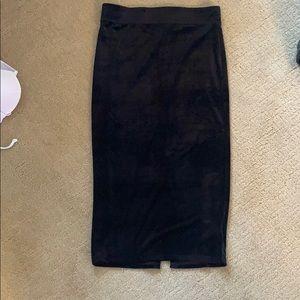 High waisted black velvet midi skirt